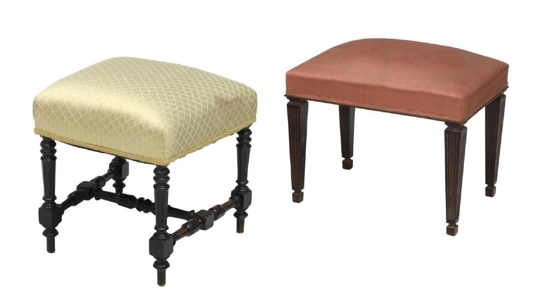 (2) FRENCH 19TH CENTURY FURNITURE, STOOL & BENCH