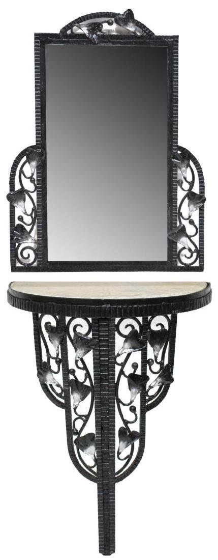 ART DECO STYLE FOLIATE MIRRORED WALL CONSOLE TABLE