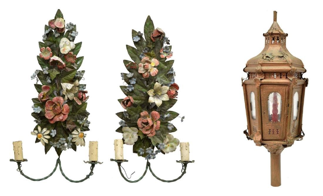 (3) ITALIAN METAL WALL SCONCES & COACH LANTERN