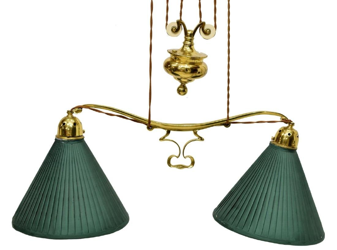 GILT BRASS PULLEY HANGING DUAL LIBRARY LAMP