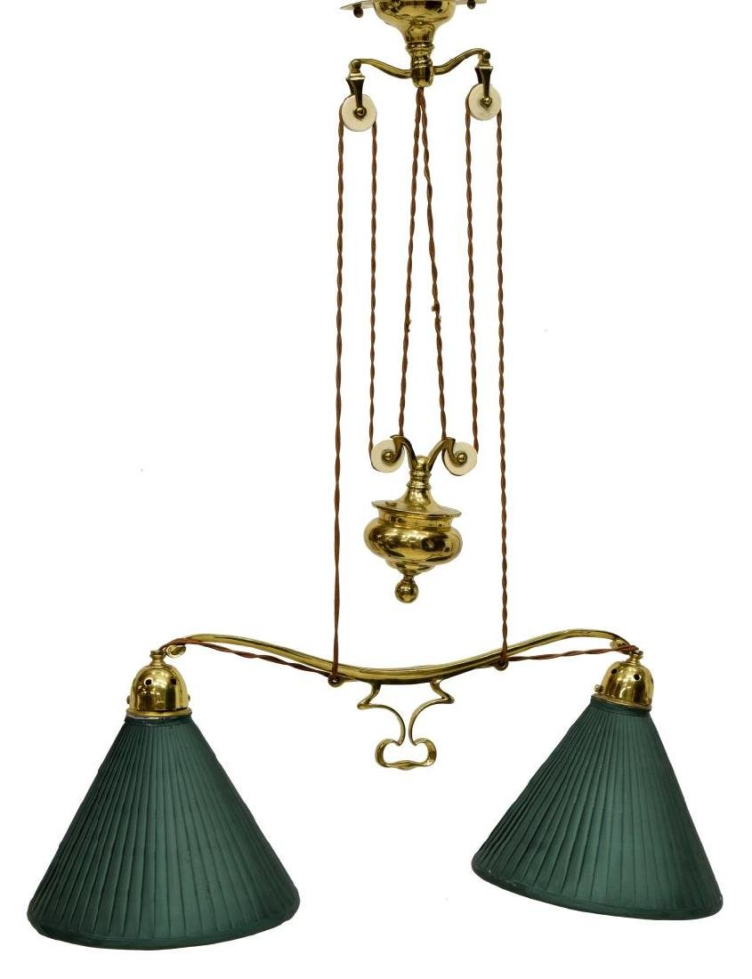 GILT BRASS PULLEY HANGING DUAL LIBRARY LAMP - 2