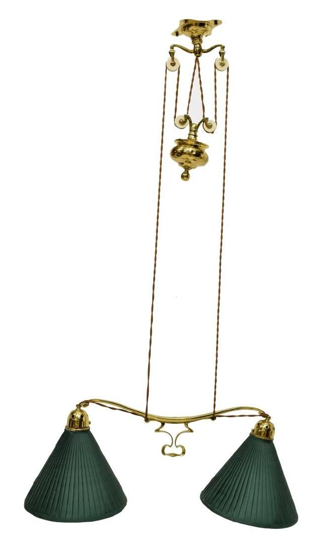 GILT BRASS PULLEY HANGING DUAL LIBRARY LAMP - 3
