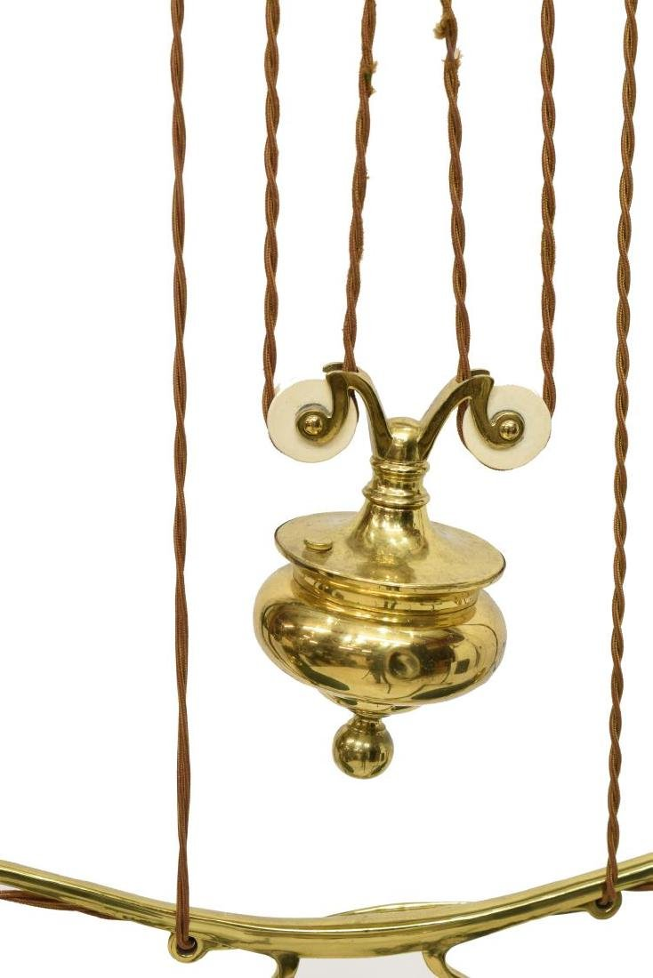 GILT BRASS PULLEY HANGING DUAL LIBRARY LAMP - 4