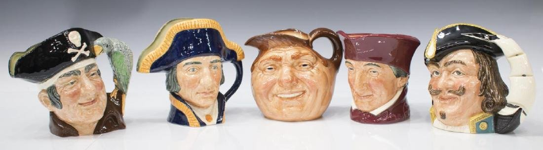 (5) LARGE ROYAL DOULTON CHARACTER TOBY JUGS