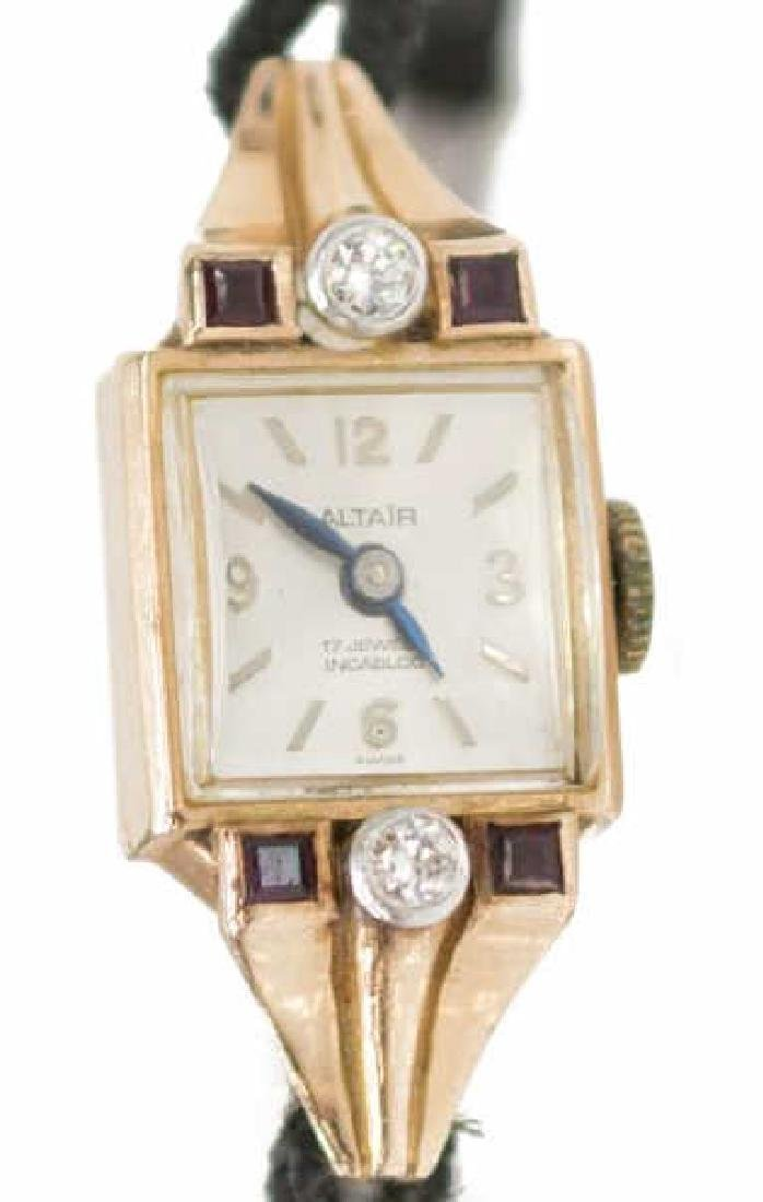 LADIES ESTATE 14K ROSE GOLD DIAMOND WRIST WATCH