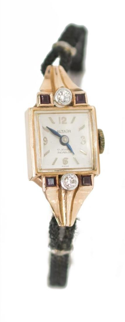 LADIES ESTATE 14K ROSE GOLD DIAMOND WRIST WATCH - 2