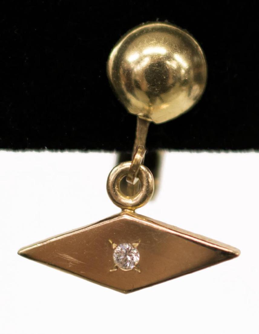 (2) LADIES ESTATE 10KT & DIAMOND DANGLE EAR CLIPS - 2