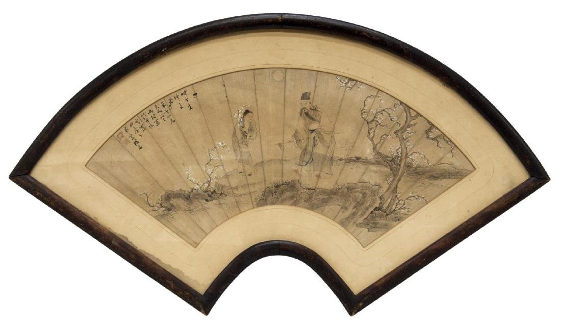 FRAMED CHINESE PAINTED FAN, FIGURES