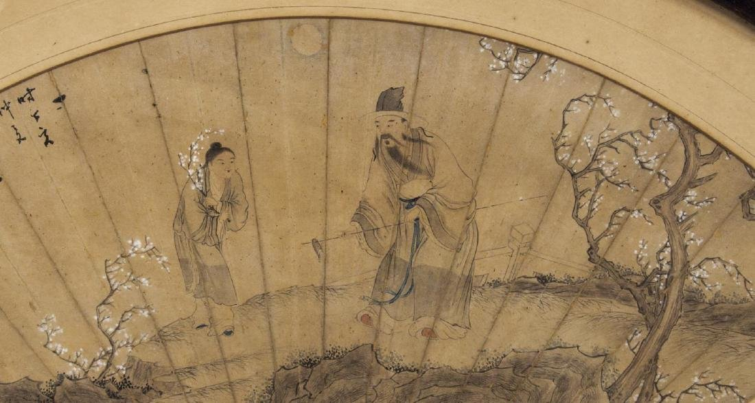 FRAMED CHINESE PAINTED FAN, FIGURES - 2