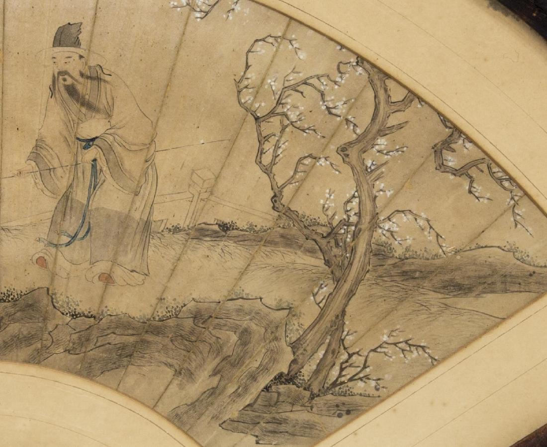 FRAMED CHINESE PAINTED FAN, FIGURES - 4