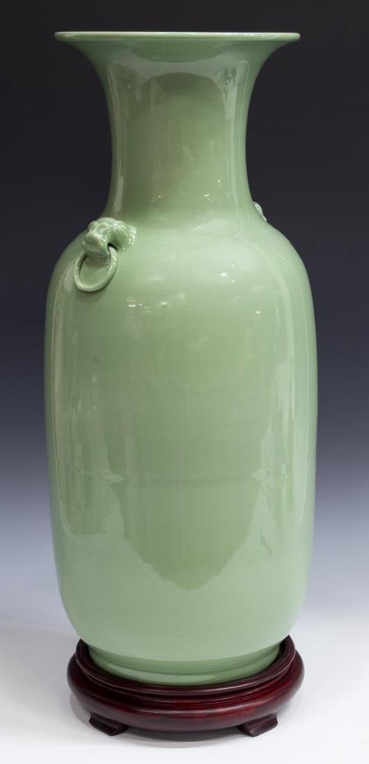 LARGE CHINESE CELADON FOO LION VASE WITH STAND
