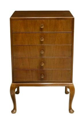 ENGLISH WALNUT UPRIGHT MUSIC CABINET / CHEST