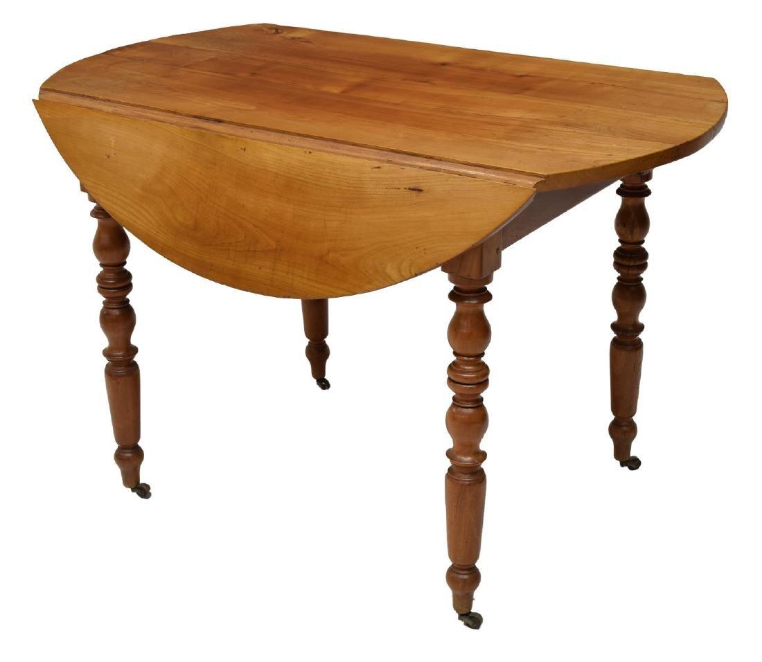 FRENCH CHERRYWOOD DROP LEAF CIRCULAR SIDE TABLE