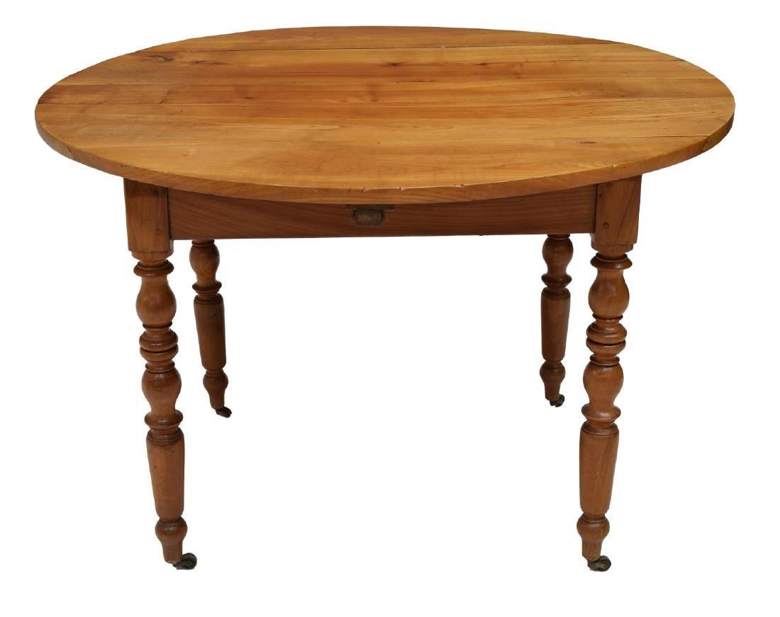 FRENCH CHERRYWOOD DROP LEAF CIRCULAR SIDE TABLE - 3