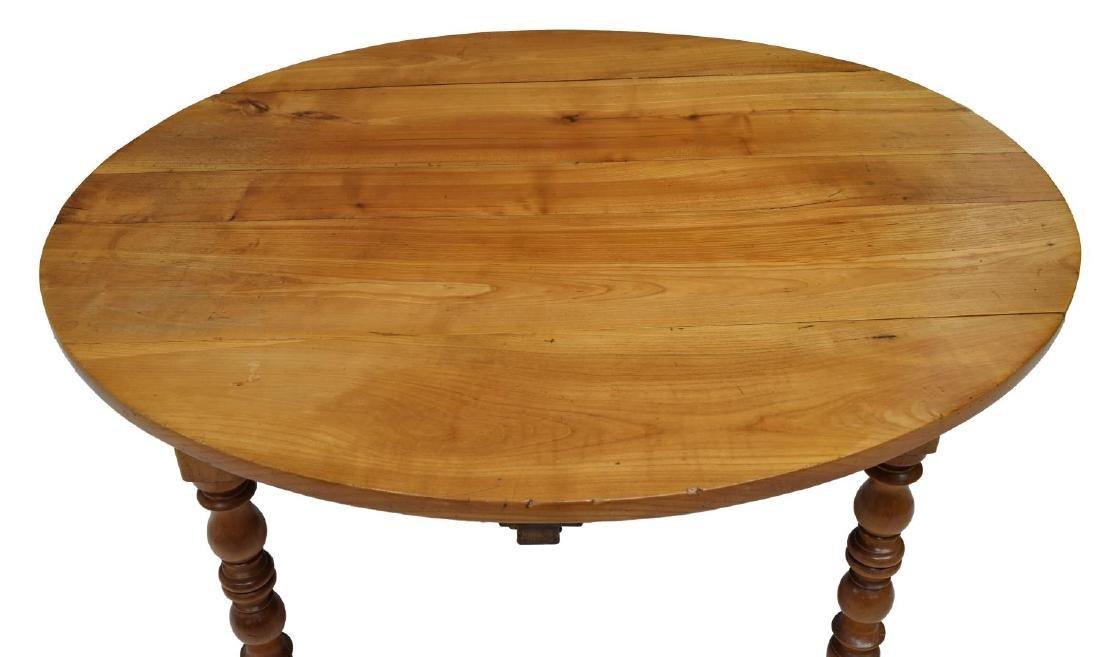 FRENCH CHERRYWOOD DROP LEAF CIRCULAR SIDE TABLE - 4