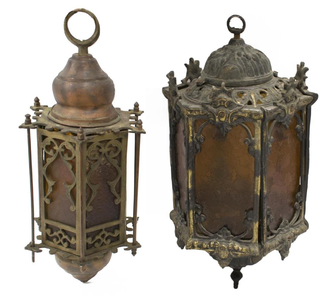 (2) EGYPTIAN GILT METAL GLASS INSET LANTERNS