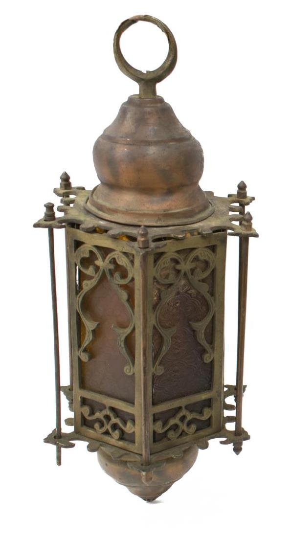 (2) EGYPTIAN GILT METAL GLASS INSET LANTERNS - 3