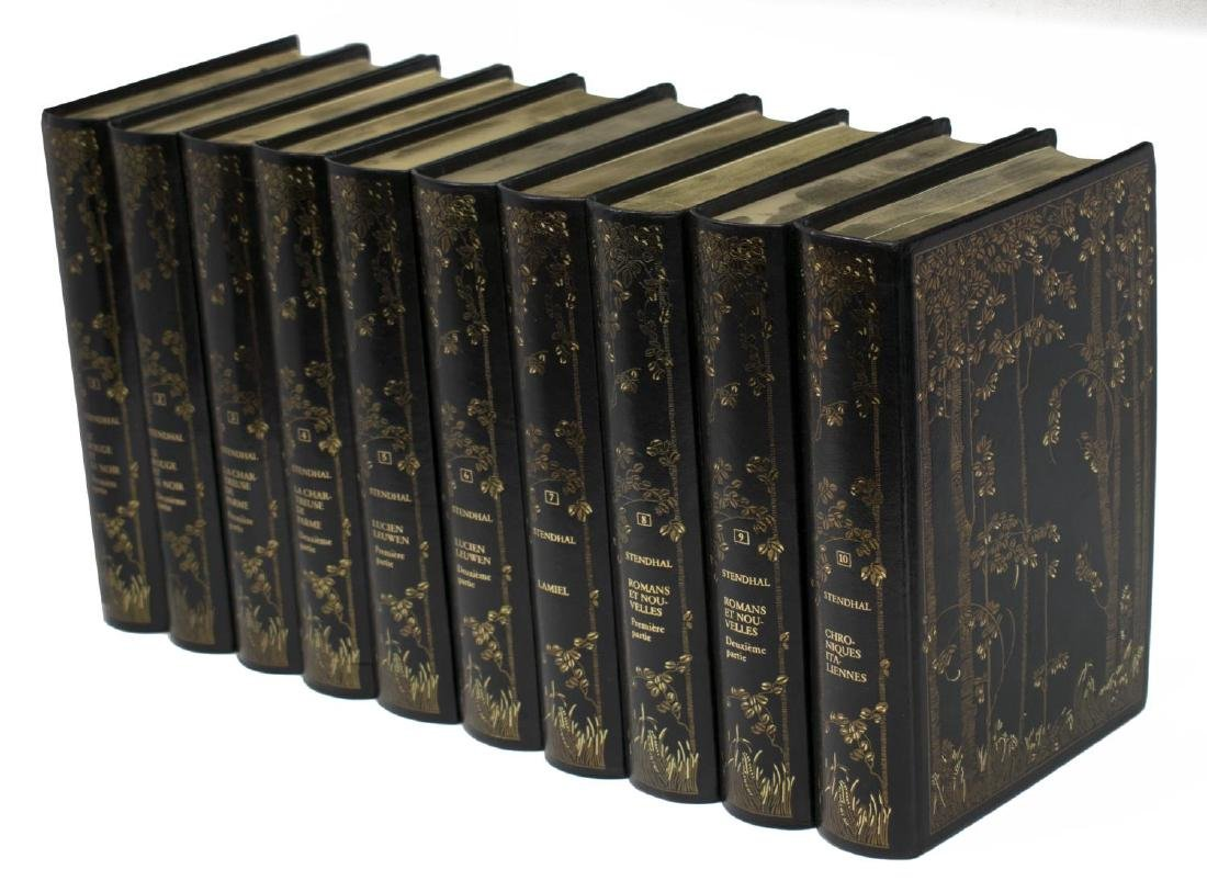 (10) FRENCH BLACK LEATHER BOUND LIBRARY BOOKS SET