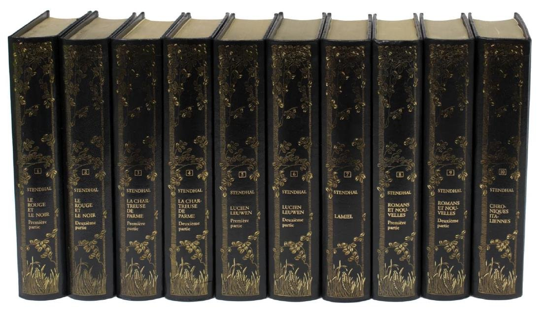 (10) FRENCH BLACK LEATHER BOUND LIBRARY BOOKS SET - 2