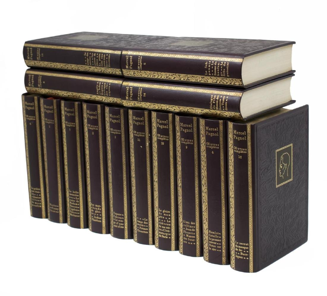 (14) FRENCH LEATHER BOUND LIBRARY BOOKS SET