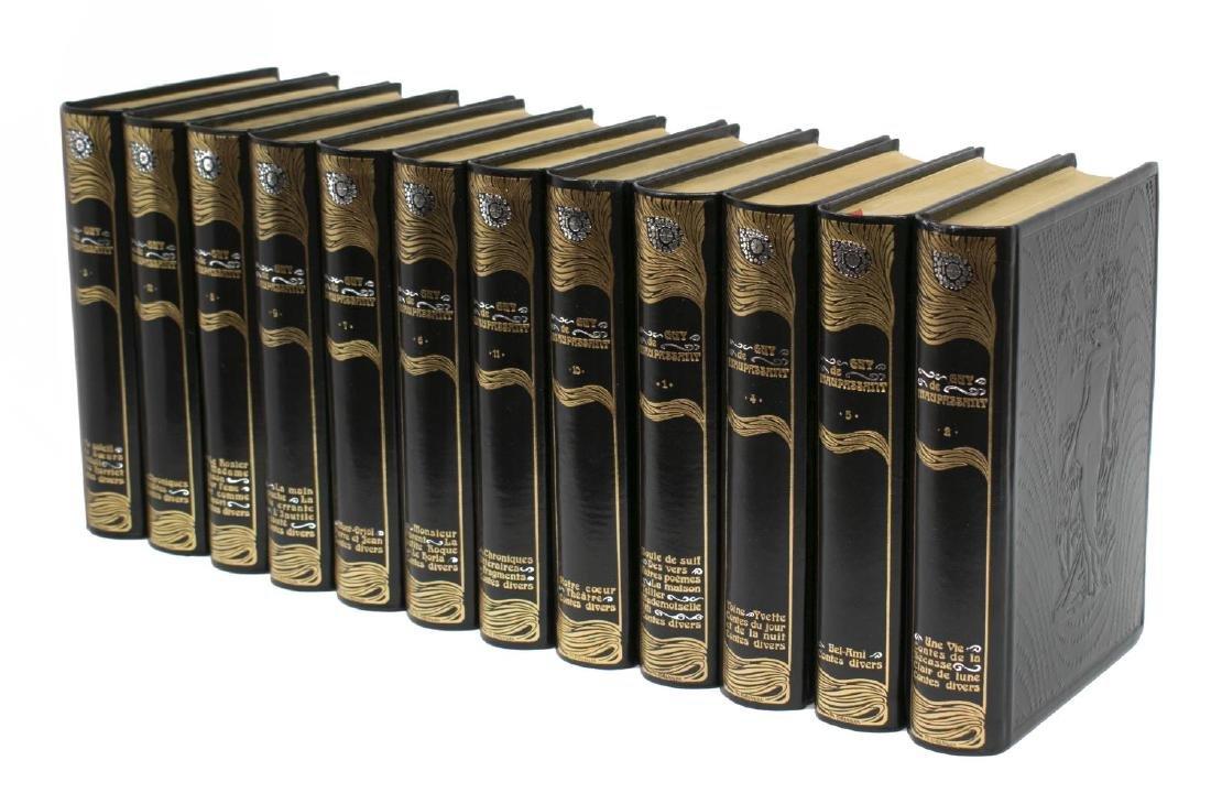 (12) ART NOUVEAU STYLE BLACK LEATHER LIBRARY BOOKS