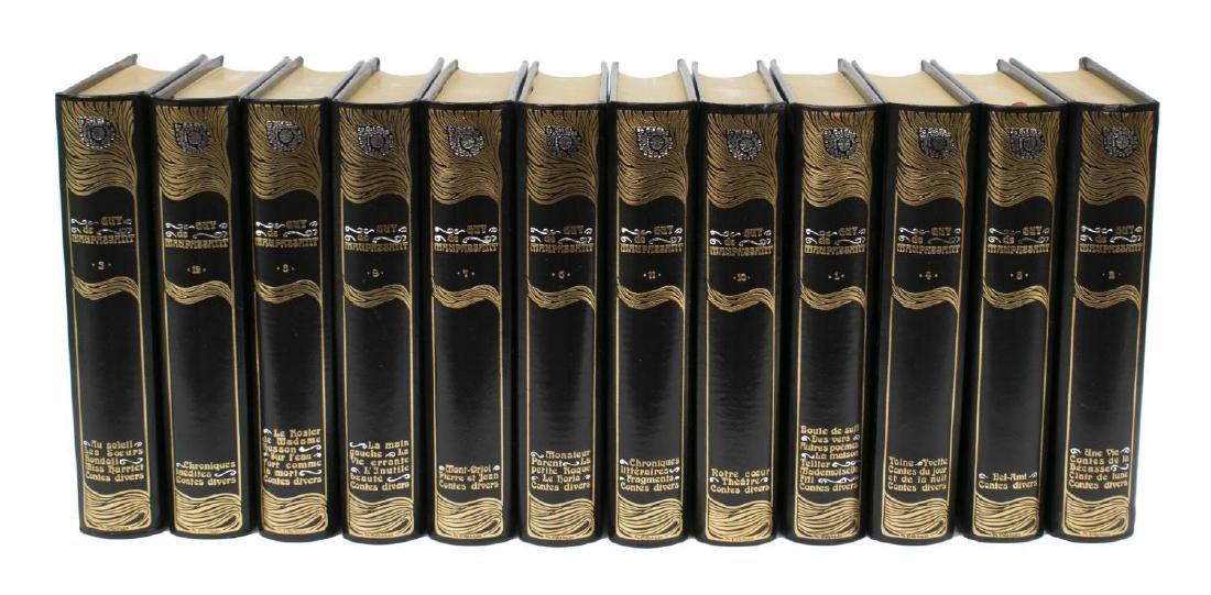 (12) ART NOUVEAU STYLE BLACK LEATHER LIBRARY BOOKS - 2