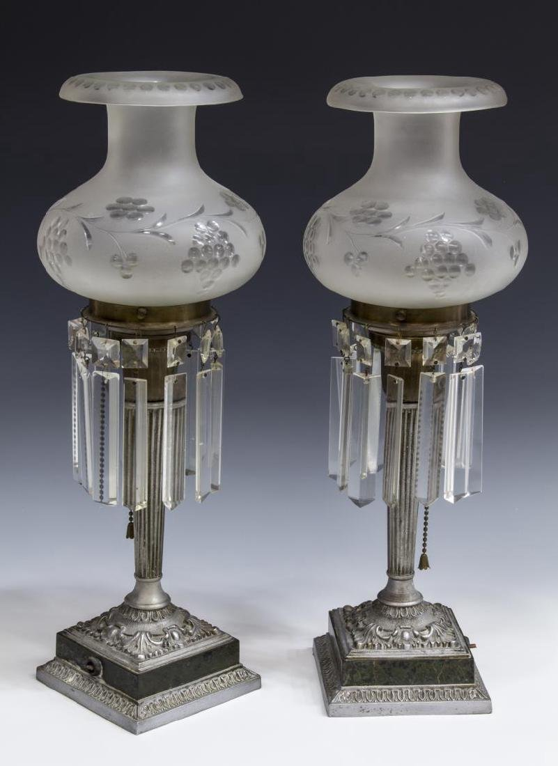 (2) FROSTED & ETCHED ASTRAL PRISM TABLE LAMPS