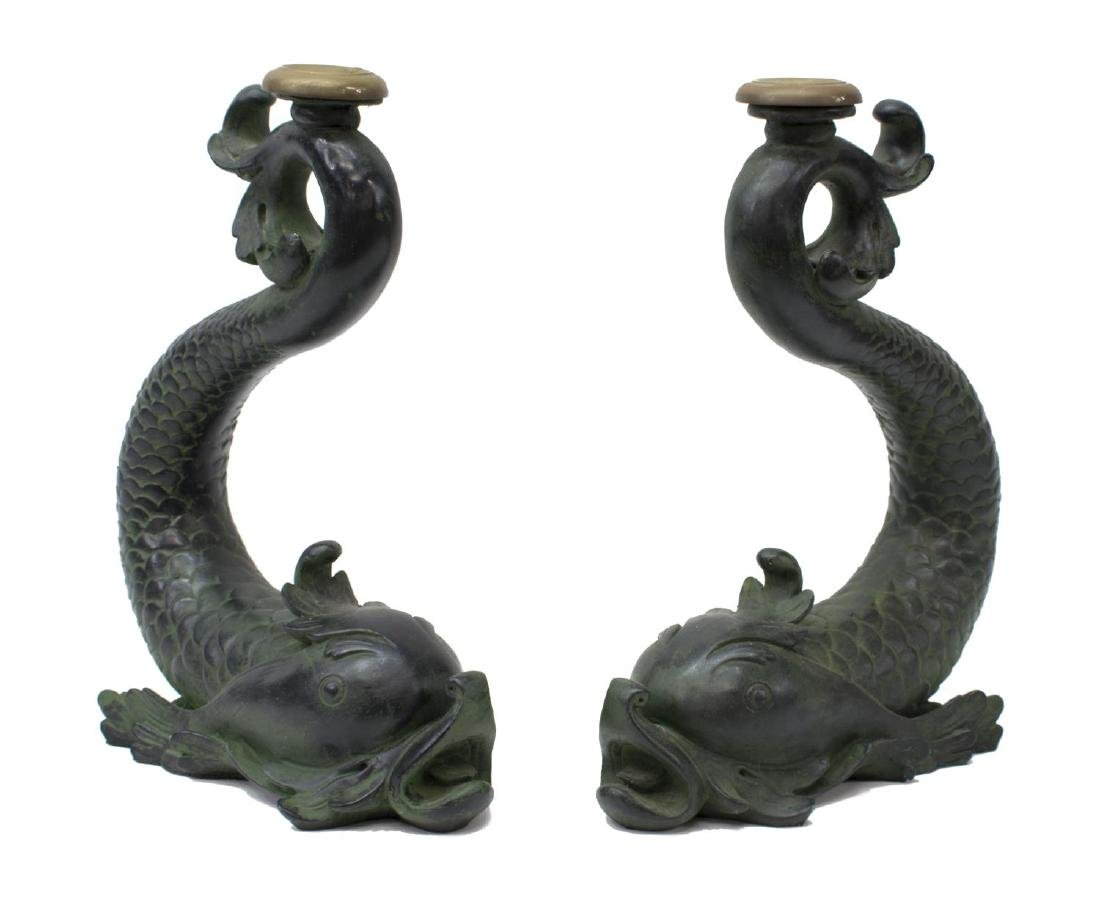 (2) LARGE DOLPHIN FORM CANDLESTICKS
