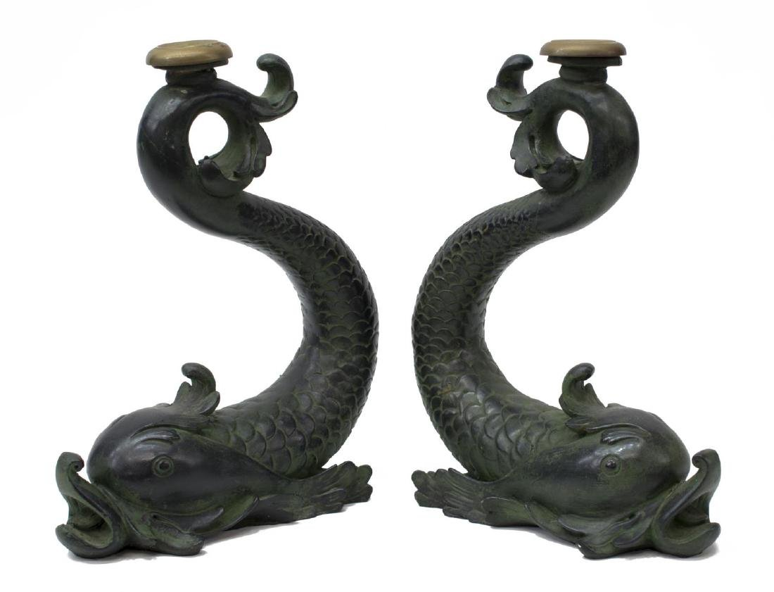 (2) LARGE DOLPHIN FORM CANDLESTICKS - 2