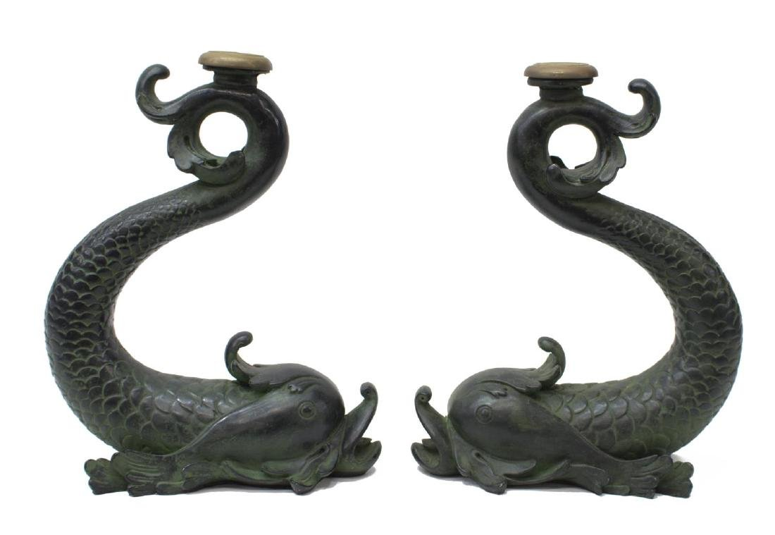 (2) LARGE DOLPHIN FORM CANDLESTICKS - 3