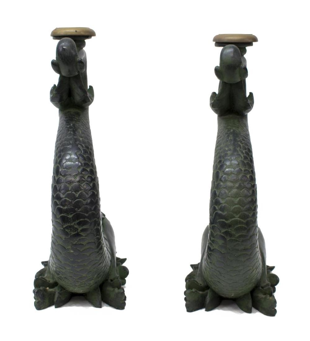 (2) LARGE DOLPHIN FORM CANDLESTICKS - 4