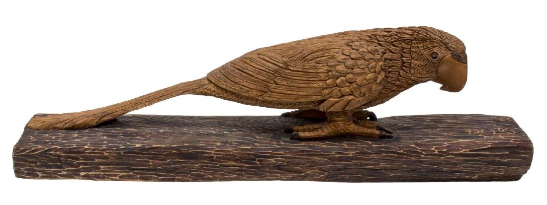 LARGE DETAILED CARVED WOOD SCULPTURE, PARROT - 2