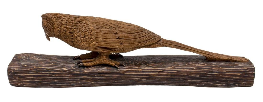 LARGE DETAILED CARVED WOOD SCULPTURE, PARROT - 3