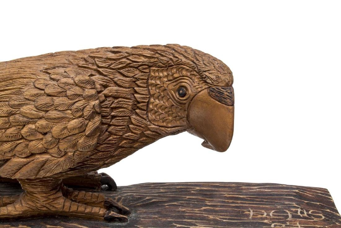LARGE DETAILED CARVED WOOD SCULPTURE, PARROT - 4