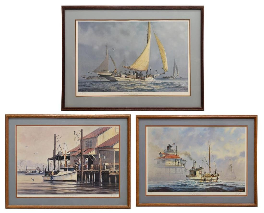 (3) JOHN BARBER LARGE EDITION MARINE PRINTS 20TH C