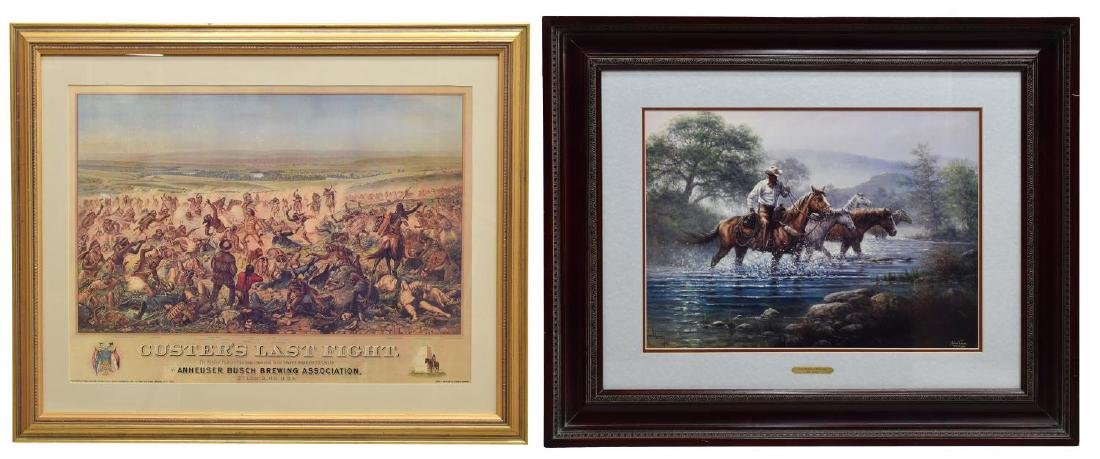 (2) FRAMED WESTERN PRINTS, CUSTERS LAST STAND