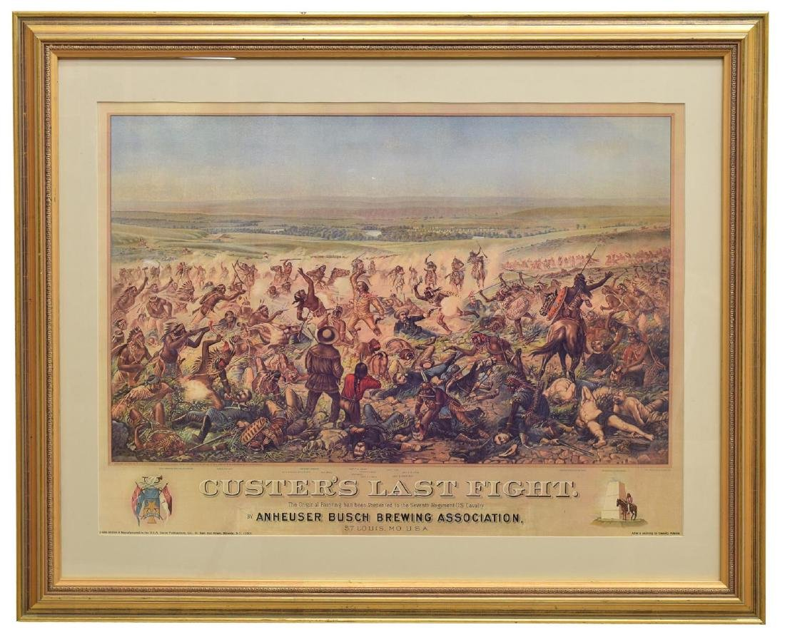 (2) FRAMED WESTERN PRINTS, CUSTERS LAST STAND - 2