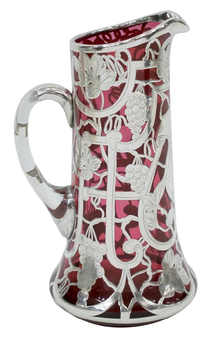 VICTORIAN SILVER OVERLAY CRANBERRY GLASS PITCHER