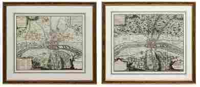 2 FRENCH HAND COLORED MAPS NICOLAS DE FER