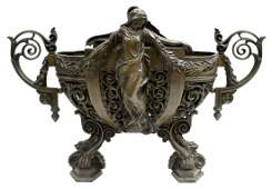 FRENCH PATINATED BRONZE PIERCED FIGURAL JARDINIERE