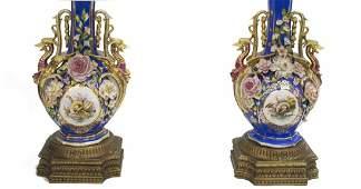 (2) FRENCH PARCEL GILT PORCELAIN FLORAL LAMPS