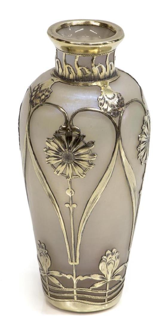 AUSTRIAN SILVER OVERLAY IRIDESCENT ART GLASS VASE