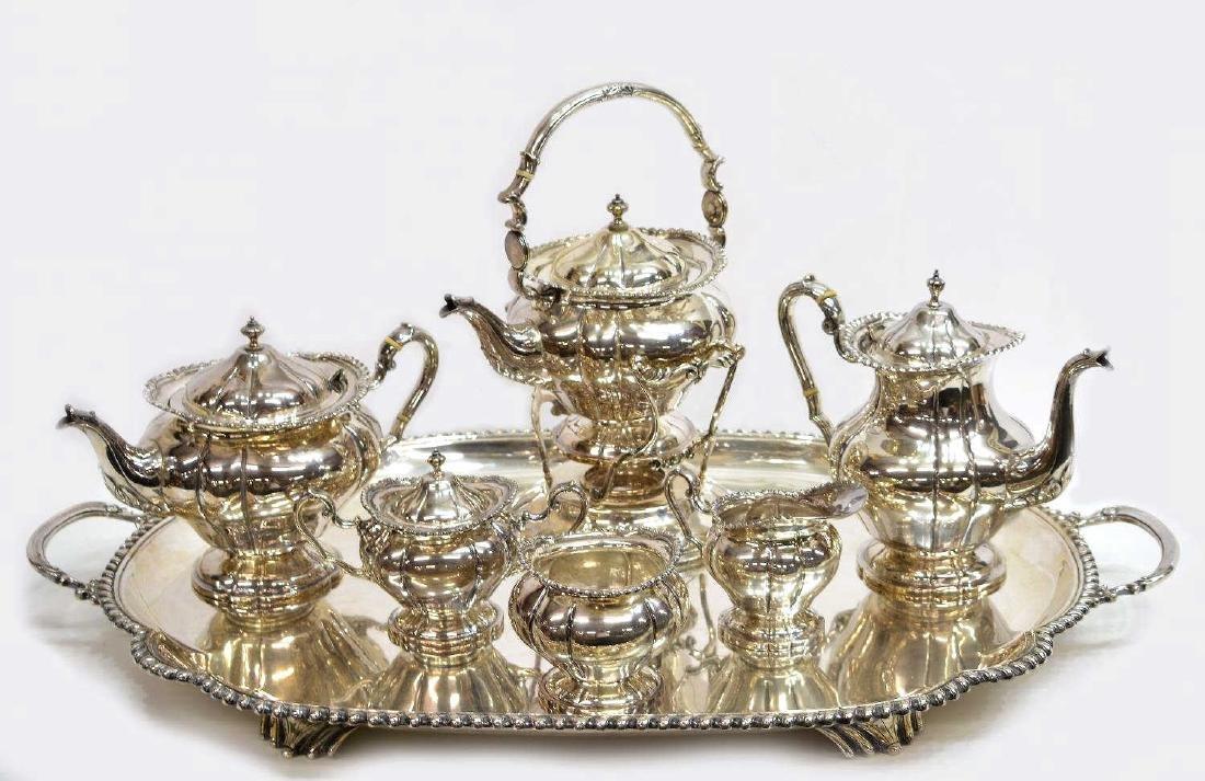 (7)CUSTOM MADE VINTAGE MEXICO STERLING TEA SERVICE
