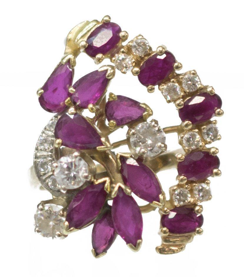 LADIES ESTATE 14K DIAMOND & RUBY CLUSTER RING