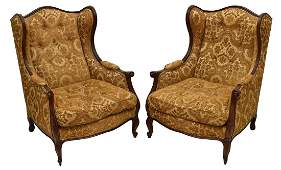 (PAIR) FRENCH LOUIS XV WINGBACK CHAIRS