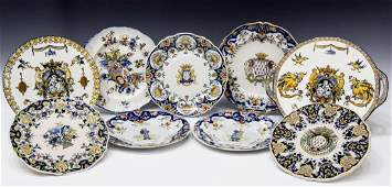 (9) COLLECTION OF FRENCH FAIENCE POTTERY PLATES