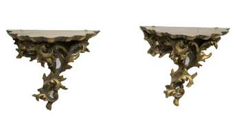 2 LOUIS XV FOLIATE CARVED GILTWOOD WALL BRACKETS