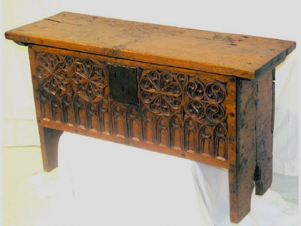 23: ANTIQUE GOTHIC STYLE TRUNK SPAIN