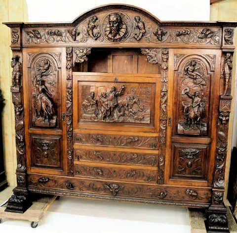 175: HIGHLY CARVED BOOKCASE DON QUIXOTE SPAIN
