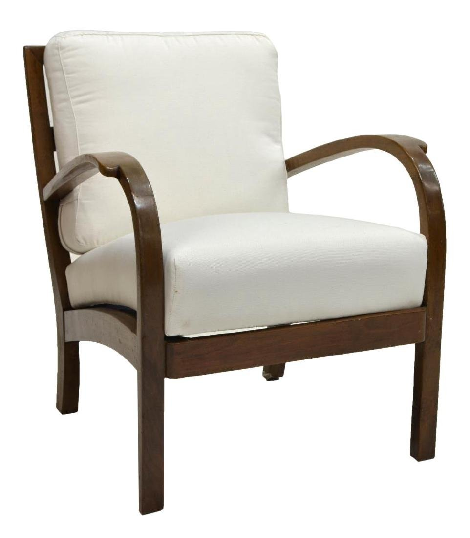 ITALIAN ART DECO UPHOLSTERED WOOD ARMCHAIR